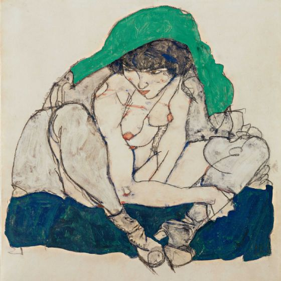 Schiele, Egon: Crouching Woman with Green Headscarf. Fine Art Print/Poster (003674)